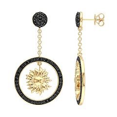 Stella Grace V19.69 Italia 18k Gold Over Silver Black Sapphire Sunflower Drop Earrings