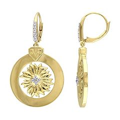 Stella Grace V19.69 Italia 18k Gold Over Silver White Sapphire Sunflower Drop Earrings