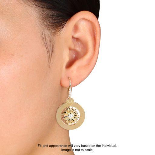 Stella Grace V19.69 Italia 18k Gold Over Silver White Sapphire Sunflower Drop Earrings