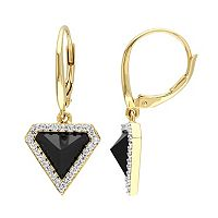 V19.69 Italia 18k Gold Over Silver Black Agate Triangle Drop Earrings