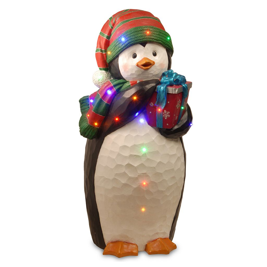 National Tree Company 41.5-in. Pre-Lit Penguin & Present Christmas Decor