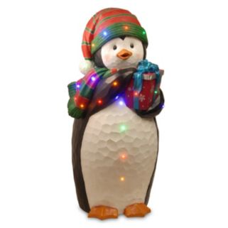 National Tree Company 41.5-in. Pre-Lit Penguin & Present Christmas Decor
