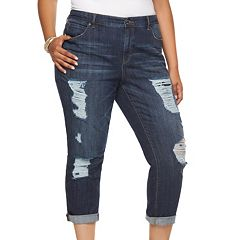 Plus Size Jennifer Lopez Destructed Boyfriend Jeans