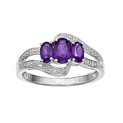 Sterling Silver Amethyst & White Topaz 3-Stone Bypass Ring