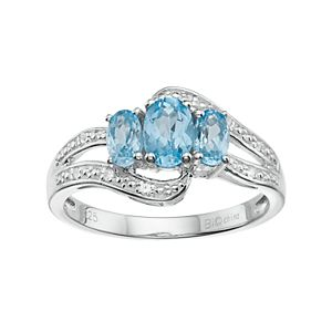 Sterling Silver Blue & White Topaz 3-Stone Bypass Ring
