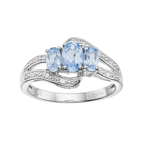 Sterling Silver Lab-Created Aquamarine & Lab-Created White Sapphire 3-Stone Bypass Ring