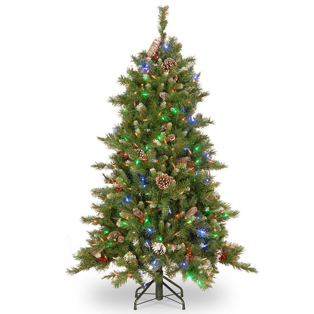 National Tree Company 6.5-ft. Frosted Berry Hinged Pre-Lit Artificial Christmas Tree