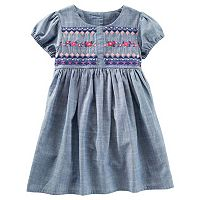Toddler Girl OshKosh B'gosh® Embroidered Bodice Chambray Dress