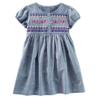 Toddler Girl OshKosh B'gosh® Embroidered Bodice Chambray Dress