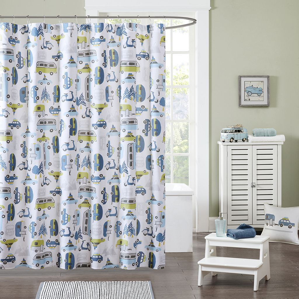 INK+IVY Kids Road Trip Printed Shower Curtain
