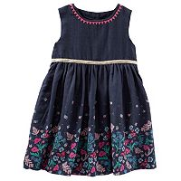 Toddler Girl OshKosh B'gosh® Flower Border Navy Dress