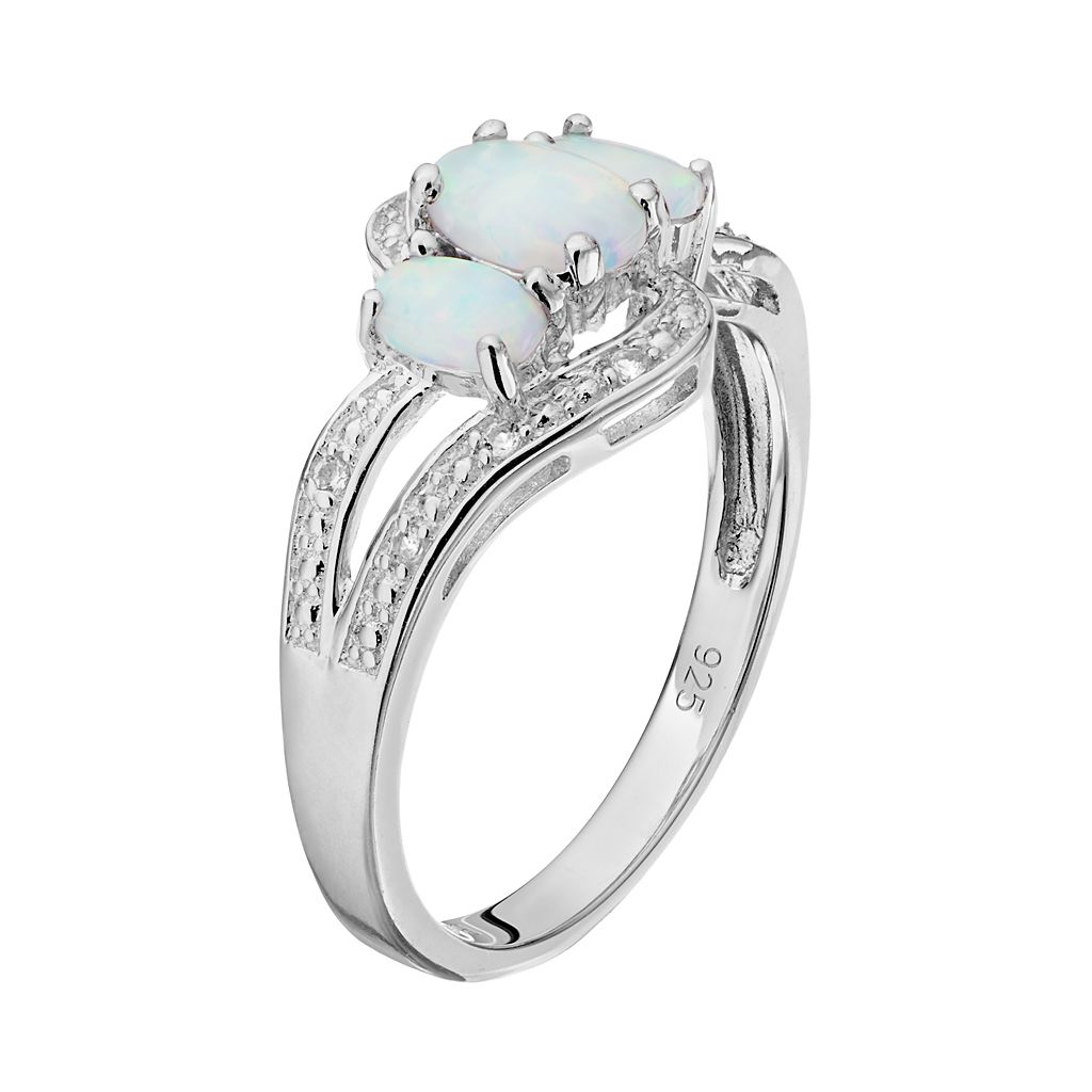 Sterling Silver Lab-Created Opal & Lab-Created White Sapphire 3-Stone Bypass Ring