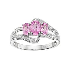Sterling Silver Lab-Created Pink & White Sapphire 3-Stone Bypass Ring