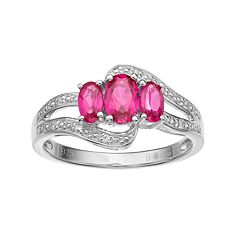 Sterling Silver Lab-Created Ruby & Lab-Created White Sapphire 3-Stone Bypass Ring