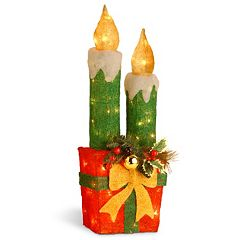 National Tree Company Gift & Green Candle Christmas Floor Decor Set