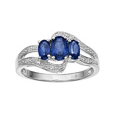 Sterling Silver Lab-Created Blue & White Sapphire 3-Stone Bypass Ring