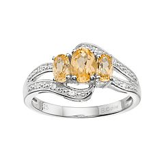 Sterling Silver Citrine & White Topaz 3-Stone Bypass Ring