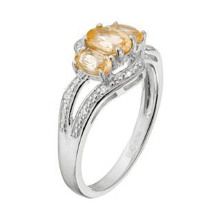 Sterling Silver Citrine & White Topaz 3-Stone Bypass Ring
