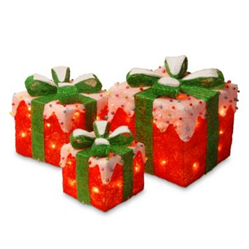 National Tree Company Red Christmas Gift Boxes Table Decor Set