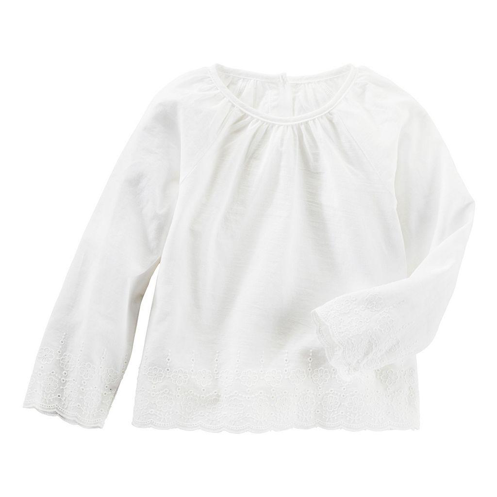 Toddler Girl OshKosh B'gosh® White Eyelet Trim Trapeze Top