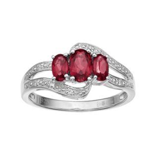 Sterling Silver Garnet & White Topaz 3-Stone Bypass Ring