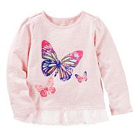 Toddler Girl OshKosh B'gosh® Long Sleeve Butterfly Graphic Lace Hem Tee