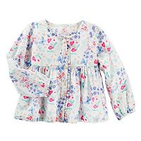 Toddler Girl OshKosh B'gosh® Butterfly & Flower Empire Waist Button-Down Shirt