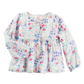 Toddler Girl OshKosh B'gosh® Butterfly & Flower Empire Waist Button-Down Shirt