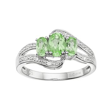 Sterling Silver Peridot & White Topaz 3-Stone Bypass Ring