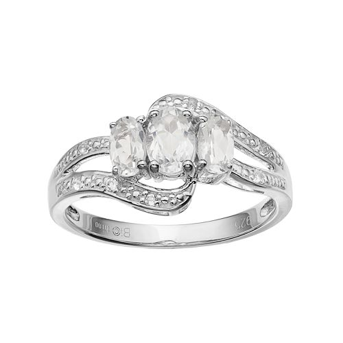 Sterling Silver White Topaz 3-Stone Bypass Ring
