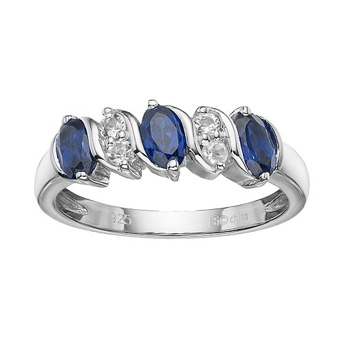 Sterling Silver Lab-Created Blue & White Sapphire Ring