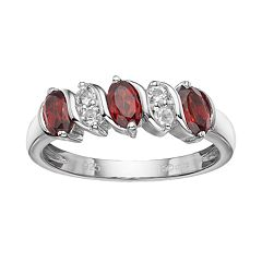 Sterling Silver Garnet & White Topaz Ring