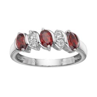 Sterling Silver Garnet & White Topaz Ring