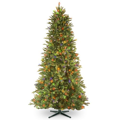 National Tree Company 6.5-ft. Tiffany Fir Slim Multicolor Pre-Lit Artificial Christmas Tree