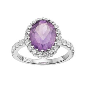 Sterling Silver Amethyst & White Topaz Oval Halo Ring