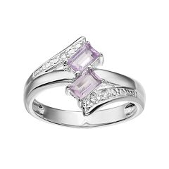 Sterling Silver Amethyst & White Topaz Two Stone Bypass Ring