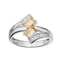 Sterling Silver Citrine & White Topaz Two Stone Bypass Ring
