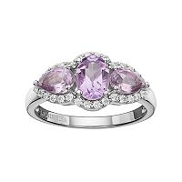 Sterling Silver Amethyst & White Topaz 3-Stone Halo Ring