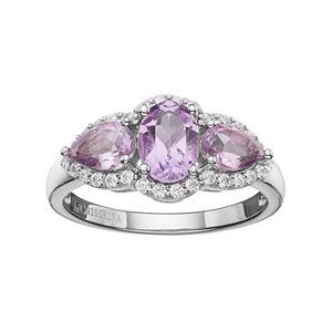 Sterling Silver Amethyst & White Topaz 3-Stone Halo Ring