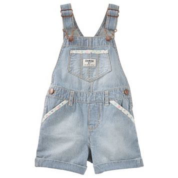 Toddler Girl OshKosh B'gosh® Hickory Stripe Cuffed Denim Shortalls