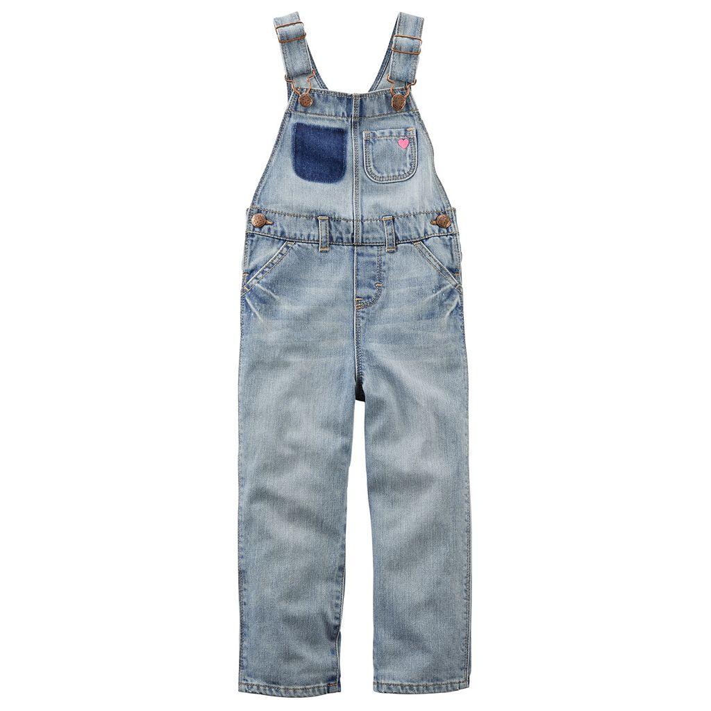 Toddler Girl OshKosh B'gosh® Heart Applique Denim Overalls