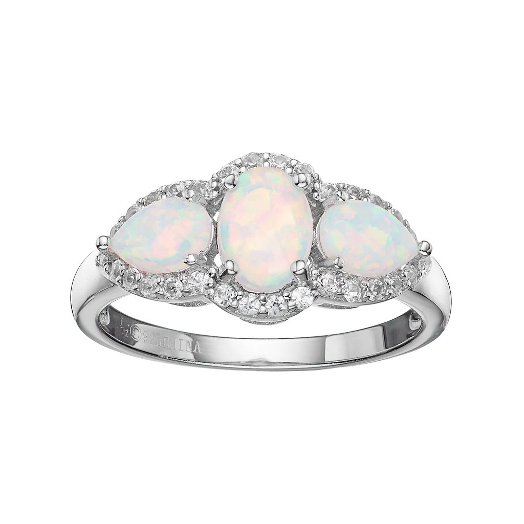 Sterling Silver Lab-Created White Opal & White Topaz 3-Stone Halo Ring