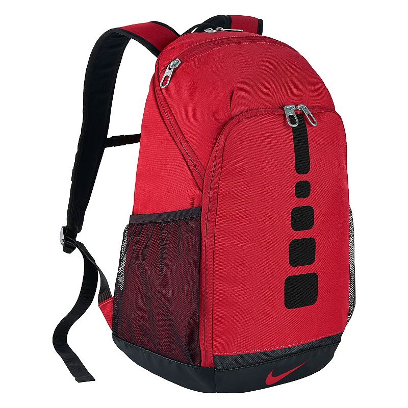 Nike Hoops Elite Backpack, Red On and off the court, this Nike Hoops Elite backpack is a top performer. Dense outer shell offers lasting durability Internal wet / dry separator helps keep gear clean and organized Wet / dry separator doubles as a sleeve to store your laptop Zippered external pocket stores small items 18 H x 12 W x 7 D Weight: 1 lbs. Polyester Zipper closure Model no. BA5355-010 Size: One size. Color: Red. Gender: Unisex.