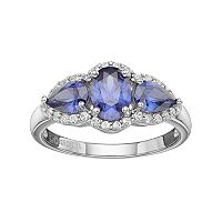 Sterling Silver Lab-Created Sapphire & White Topaz 3-Stone Halo Ring