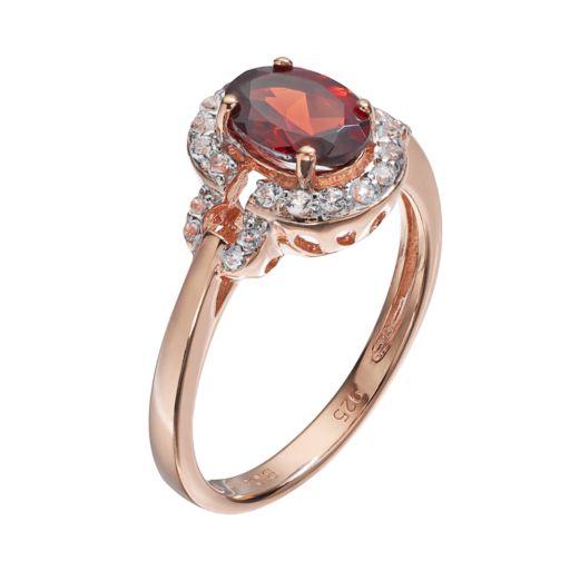 14k Rose Gold Over Silver Garnet & White Topaz Halo Ring