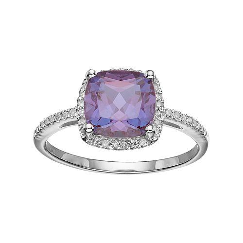 Sterling Silver Lab-Created Alexandrite & 1/6 Carat T.W. Diamond Halo Ring