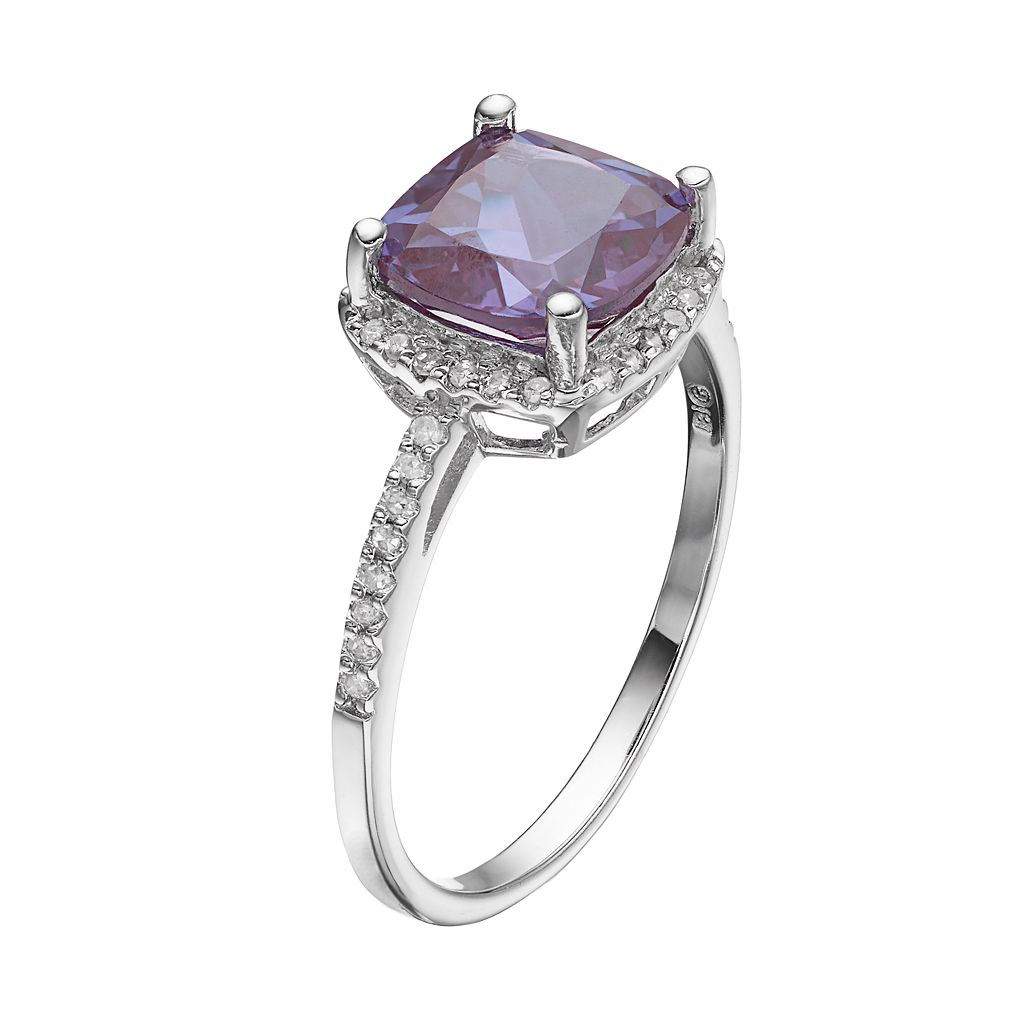 Sterling Silver Lab-Created Alexandrite & 1/6 Carat T.W. Diamond Halo Ring