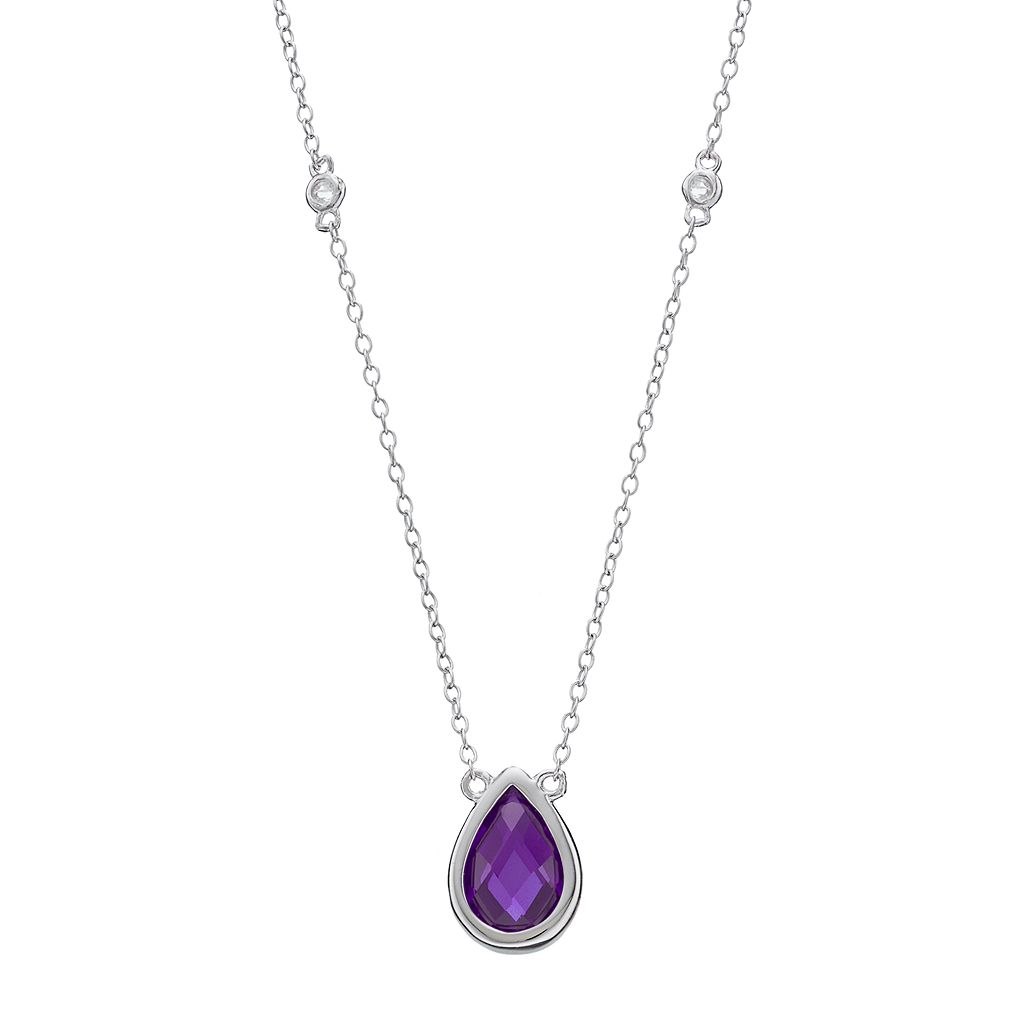 Sterling Silver Amethyst & White Topaz Teardrop Necklace