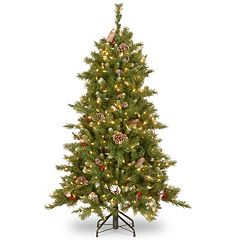 National Tree Company 5-ft. Frosted Berry Hinged Pre-Lit Artificial Christmas Tree