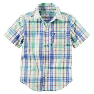Baby Boy Carter's Short Sleeve Button-Down Yellow & Blue Plaid Shirt